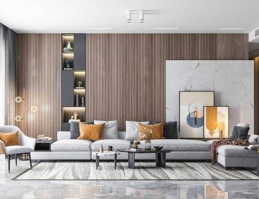 沙发组合, 茶几, 单椅, 装饰画, 摆件组合
