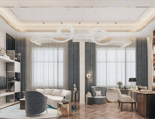 吊灯, 单椅, 沙发组合, 桌椅组合, 置物柜