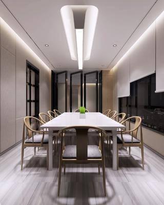 中式会议室, 会议室, 中式椅子, 桌子, 吊灯, 帘子, 植物