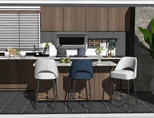餐桌, 单椅, 电器, 橱柜组合, 植物