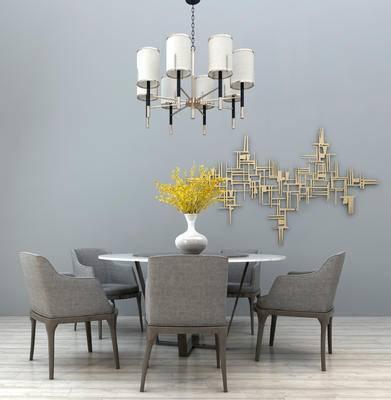 现代餐桌椅组合, 现代多头吊灯, 装饰摆件, 墙饰