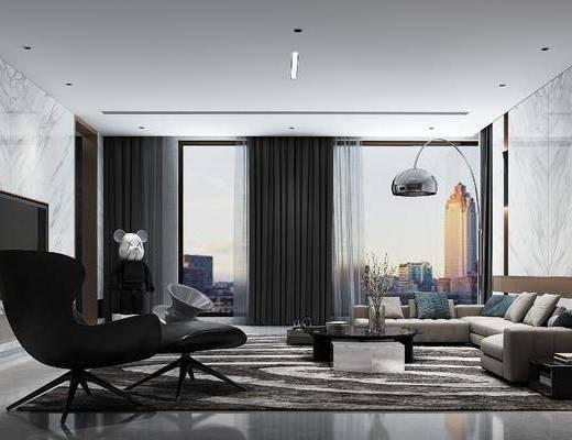 现代客厅, 沙发组合, 沙发茶几组合, 摆件组合