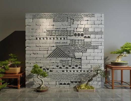 砖墙, 隔断墙, 盆栽, 园艺小品, 园艺, 新中式, 中式