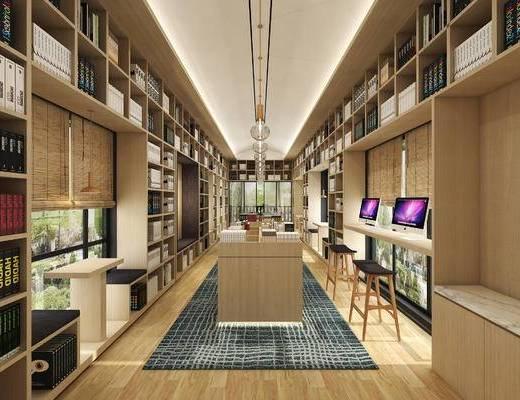 图书馆, 桌椅组合, 书柜, 书籍, 吊灯