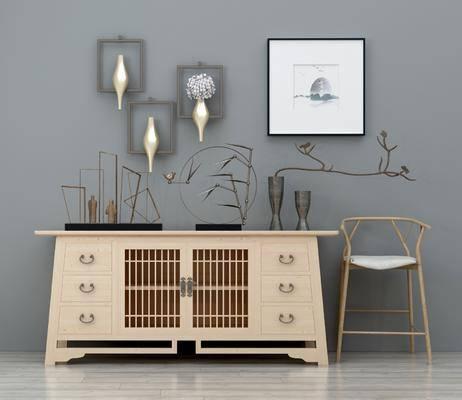 边柜组合, 边柜, 装饰画, 挂画, 单人椅, 墙饰, 摆件, 装饰品, 陈设品, 玄关柜, 摆件组合, 新中式