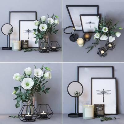 摆件组合, 北欧装饰摆件组合, 装饰品, 装饰画, 花卉, 北欧