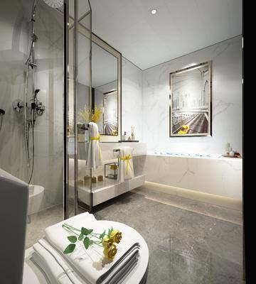 现代卫生间, 卫生间, 现代, 马桶, 花洒, 洗手盆