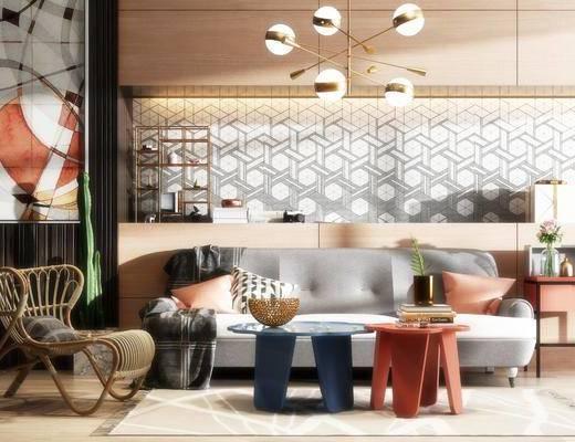 沙发组合, 多人沙发, 吊灯, 挂画, 边柜, 茶几, 摆件, 藤椅, 现代