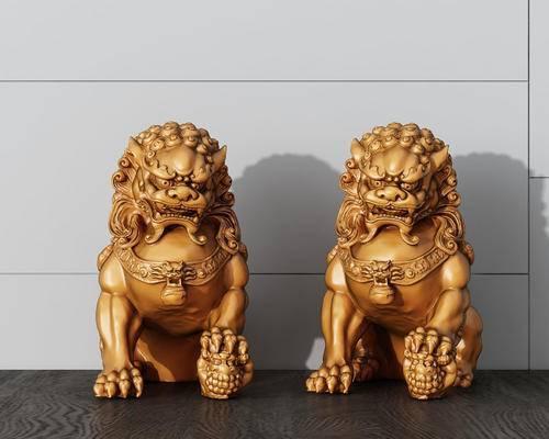 中式, 石狮子, 雕塑