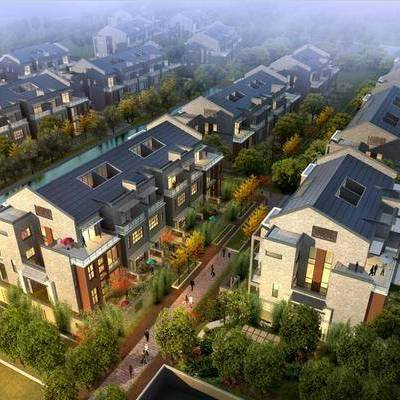 中式园林建筑, 别墅, 园林, 景观, 外观, 鸟瞰
