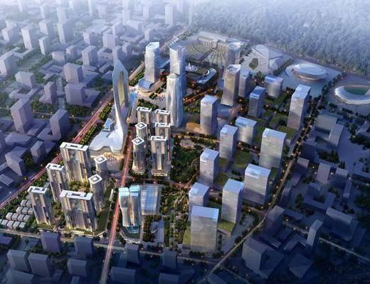 鸟瞰, 公共建筑, 人物, 植物植物, 植物绿植, 现代