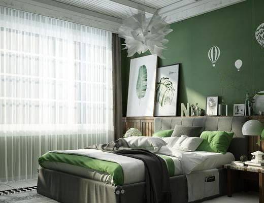 卧室, 双人床, 床头柜, 吊灯, 盆栽, 绿植植物, 北欧