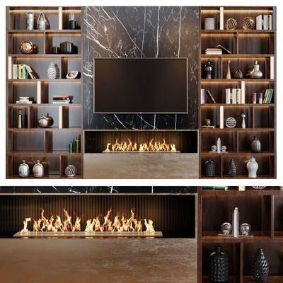 电视柜, 装饰柜, 书柜, 书籍, 摆件, 装饰品, 陈设品, 壁炉, 瓷器摆件, 装饰品组合, 现代