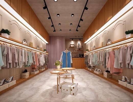 服装店, 现代服装店, 现代, 衣服, 衣架, 展示架, 鞋子, 摆件, 装饰品, 植物, 盆栽, 边几