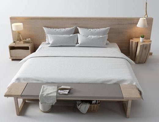 双人床, 床具组合, 床尾踏