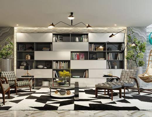 休闲椅, 茶几, 吊灯, 装饰品, 植物组合