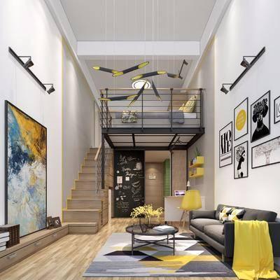 公寓, 客厅, 北欧, 现代, 沙发组合, 沙发茶几组合
