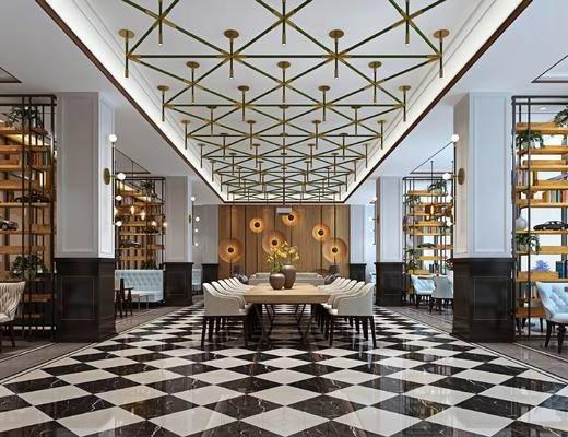 吊灯组合, 咖啡厅, 桌椅组合