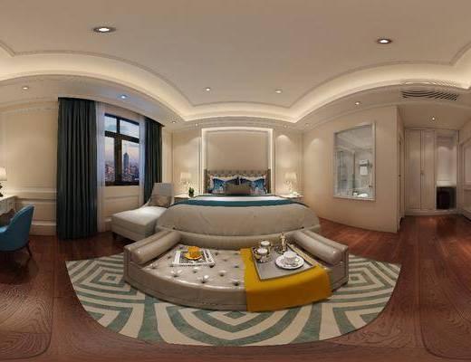 现代客房, 酒店客房, 床, 沙发, 桌椅, 椅子