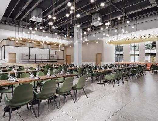 餐厅, 自助餐, 餐桌, 单椅, 椅子, 吊灯, 前台, 出餐口, 餐具, 管道, 北欧, 工业风
