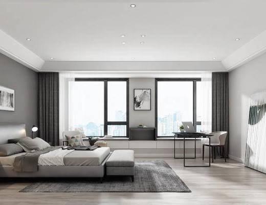 现代, 现代卧室, 床, 脚踏, 书桌椅, 装饰画