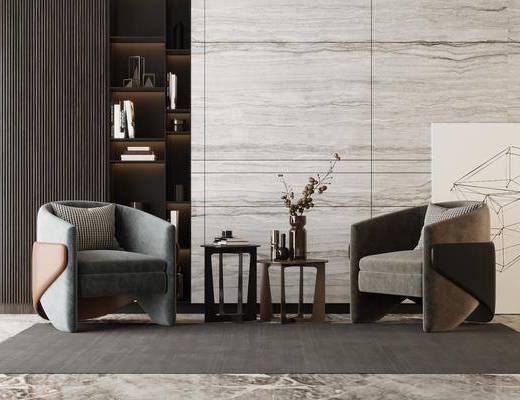 单人沙发, 边几, 装饰画, 摆件组合, 抱枕