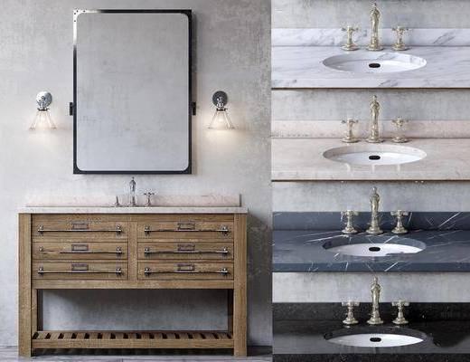 卫浴组合, 柜架组合, 镜子, 壁灯, 洗手盆