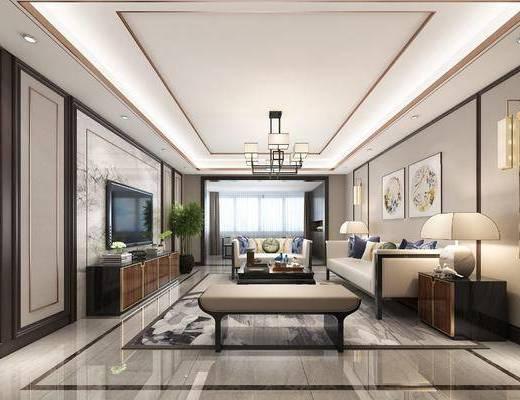 中式客餐厅全景, 客厅, 餐厅, 中式沙发, 中式吊灯, 墙面挂画