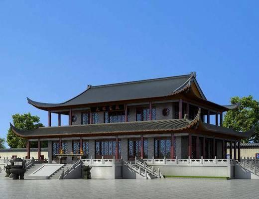 古建宝殿, 佛寺禅堂, 门面门头, 树木, 绿植, 植物, 中式