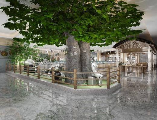 树木, 绿植植物, 中式