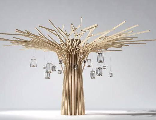 树木, 木条, 现代木条摆件, 吊灯, 现代