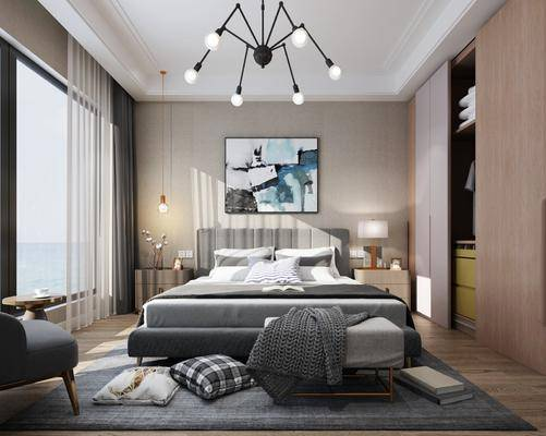 现代卧室, 床具, 双人床, 吊灯, 现代吊灯, 挂画, 装饰画, 衣柜, 现代衣柜, 床头柜, 台灯, 边几, 现代边几, 现代沙发, 单人沙发