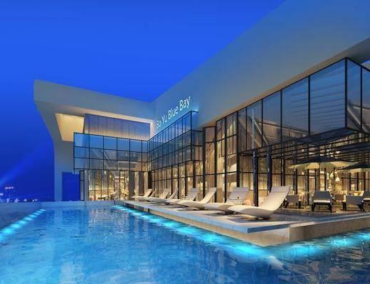 游泳池, 露天游泳池, 户外椅, 现代, 现代游泳池