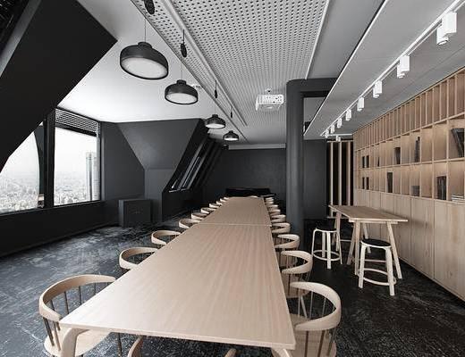 会议室, 现代会议室, 桌椅, 凳子, 书柜