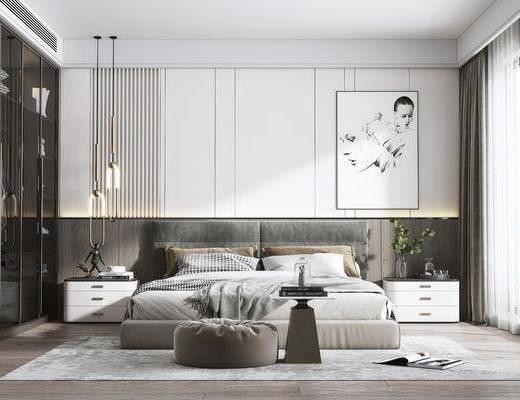 现代卧室, 双人床, 挂画, 床头柜, 吊灯, 摆件