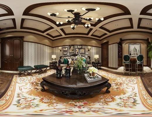 休息室, 多人沙发, 茶几, 吊灯, 凳子, 吧台吧椅, 单人椅, 电视柜, 边柜, 建筑画, 装饰画, 挂画, 边几, 台灯, 摆件, 装饰品, 陈设品, 欧式古典