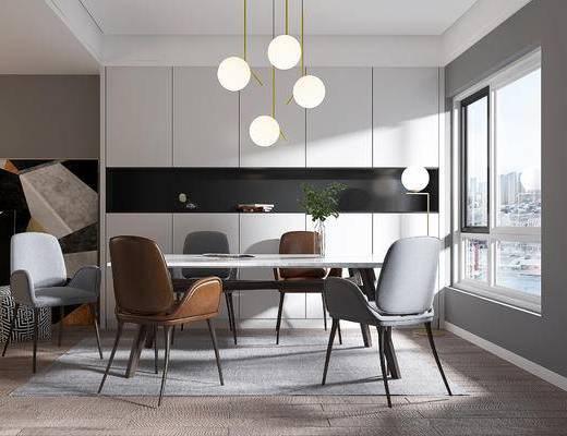 餐椅, 桌椅组合, 吊灯, 装饰画