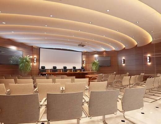 报告厅, 多功能室, 现代, 办公椅, 多媒体, 投影