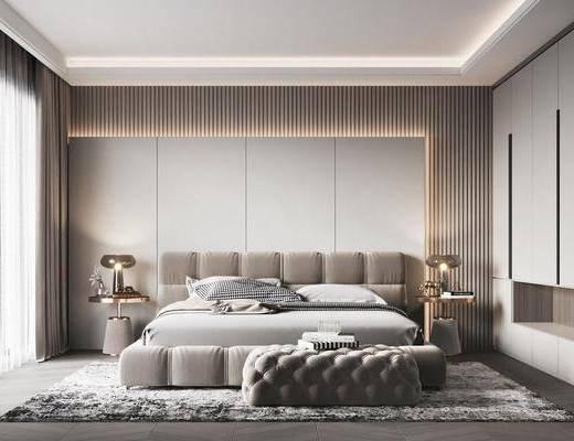 双人床, 边几, 衣柜, 床具组合