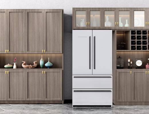 酒柜, 装饰柜, 陈设柜, 冰箱, 摆件, 装饰品, 陈设品, 新中式