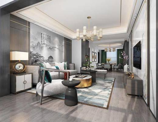 客厅, 餐厅, 新中式客餐厅, 沙发组合, 桌椅组合, 单椅, 摆件组合, 吊灯