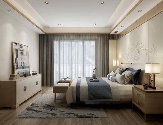 卧室, 床具组合, 双人床, 边柜, 装饰柜, 摆件, 台灯, 床头柜, 床尾踏, 新中式, 新中式卧室
