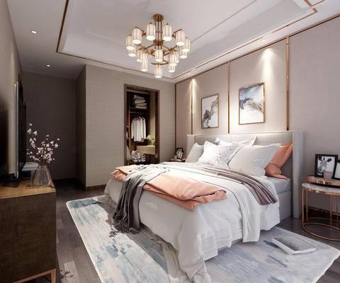 现代, 卧室, 吊灯, 床, 床头柜, 地毯, 电视柜, 花瓶, 下得乐3888套模型合辑