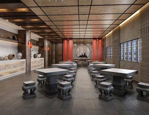 自助餐厅, 宴会厅, 桌子, 单人椅, 凳子, 壁灯, 中式