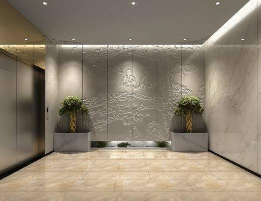 走廊, 过道, 电梯厅, 新中式, 现代, 电梯