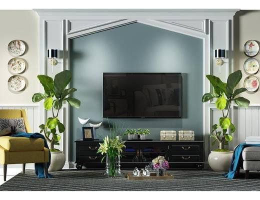 电视墙, 背景墙, 电视背景墙, 盆景, 植物, 电视柜, 地毯, 沙发凳, 沙发椅, 椅子, 地中海, 美式