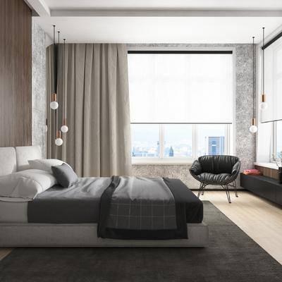 北欧卧室, 现代卧室, 布艺床, 吊灯, 椅子, 窗帘