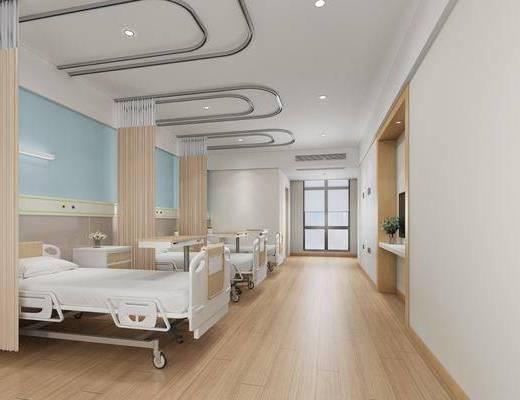 病房, 单人床, 医疗器械, 床头柜