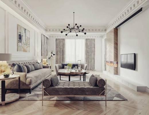 法式, 客厅, 沙发, 茶几, 吊灯, 挂画, 装饰画, 案几, 圆几, 摆件, 台灯, 装饰品