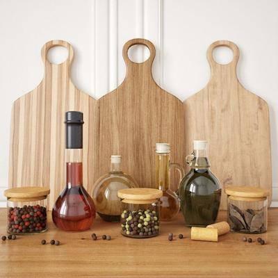 切菜板, 果子, 叶子, 玻璃瓶, 现代